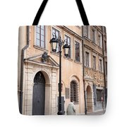 Street Lantern And Old Woman Tote Bag