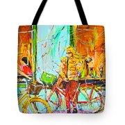 Street Of Amsterdam - Four Girls Tote Bag