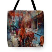 Street Of Nepal Colored  Tote Bag