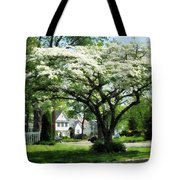 Street With Dogwood Tote Bag