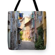 Street With Sunshine In Villefranche-sur-mer Tote Bag