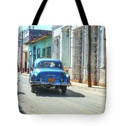 Streetlife With Car In Trinidad, Cuba Tote Bag