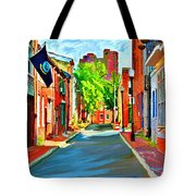 Streetscape In Federal Hill Tote Bag by Stephen Younts