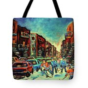 Streetscenes Of Montreal Hockey Paintings By Montreal Cityscene Specialist Carole Spandau Tote Bag