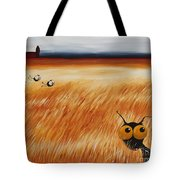 Stressie Cat And Crows In The Hay Fields Tote Bag