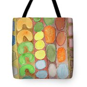Striped Colorful Pattern With Croissants  Tote Bag