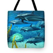 Striped Dolphins Tote Bag
