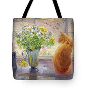 Striped Jug With Spring Flowers Tote Bag