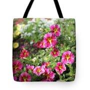 Striped Petunias Tote Bag