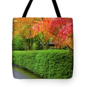 Strolling Path Lined With Japanese Maple Trees In Fall Tote Bag