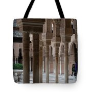 Strolling The Courtyard Of The Lions Tote Bag