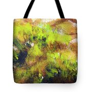 Structure Of Wooden Log Covered With Moss, Closeup Painting Detail. Tote Bag