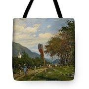 Strutzel, Otto 1855 Dessau - 1930   On The Way Home. In The Background The Steeple Of Garmisch-parte Tote Bag