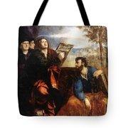 Sts John And Bartholomew With Donors 1527 Tote Bag
