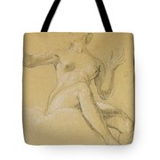 Study Of A Female Figure Seated On Clouds Tote Bag
