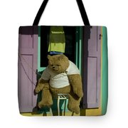 Stuffed Bear Chained To A Door Tote Bag