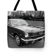 Stunning 1966 Mustang In Black And White Tote Bag
