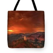 Stunning Red Storm Clouds Over The North Rim Grand Canyon Arizona Tote Bag