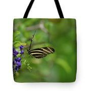Stunning Shot Of A Zebra Butterfly On A Flower Tote Bag