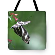 Stunning Zebra Butterfly On A Pink Flower Tote Bag