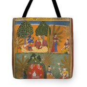 Style Of Manohar    Krishna And Radha With Their Confidantes Page From A Dispersed Gita Govinda Tote Bag