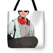 Stylish Boy With Skateboard Tote Bag