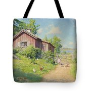 Subjects With Girl And Pecking Chickens Tote Bag