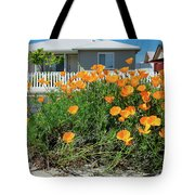 Suburban House On Orchard Avenue With Poppies Hayward California 3 Tote Bag