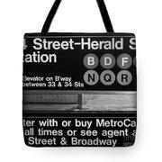 Subway 34 Street Tote Bag