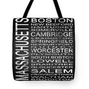 Subway Massachusetts State Square Tote Bag