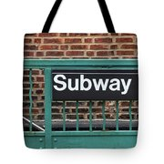 Subway Sign In New York City Tote Bag