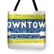 Subway Tile Sign Downtown Tote Bag