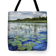 Summer Blue  Lake Under Clody Grey Sky With Forest On Coast Tote Bag