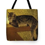 Summer Cat On A Balustrade Tote Bag