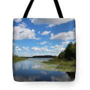 Summer Cloud Reflections On Little Indian Pond In Saint Albans Maine Tote Bag
