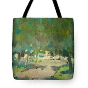 Summer Day In City Park. Trees Tote Bag