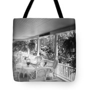 Summer Day On The Victorian Veranda Bw 03 Tote Bag