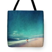 Summer Days - Abstract Seascape With Surfer Tote Bag