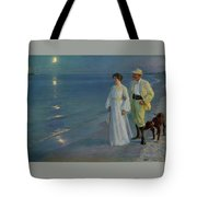 Summer Evening On The Beach At Skagen The Artist And His Wife Tote Bag