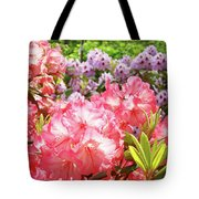 Summer Garden Pink Purple Rhododendrons Baslee Tote Bag