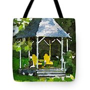 Summer Gazebo With Yellow Chairs Tote Bag