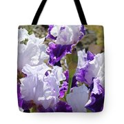 Summer Iris Garden Art Print White Purple Irises Flowers Baslee Troutman Tote Bag