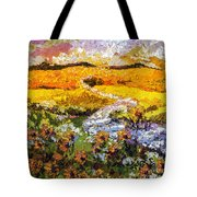 Summer Landscape Sunflowers Provence Tote Bag by Ginette Callaway