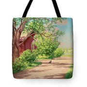 Summer Landscape With Hens Tote Bag