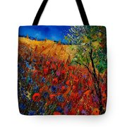 Summer Landscape With Poppies  Tote Bag