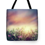 Summer Meadow Flowers In Grass At Sunset. Vintage Tote Bag