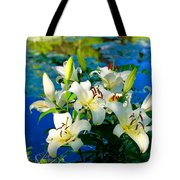 Summer Pond French Lilies Tote Bag