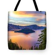 Sunset At Crater Lake, Oregon Tote Bag