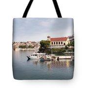 summer vacation scene Neos Marmaras Greece Tote Bag