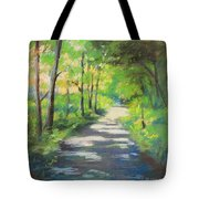 summer woods at Kenoza Lake Tote Bag by Leslie Alfred McGrath